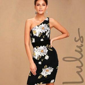 Lulus | Save Me A Dance Floral One Shoulder Dress